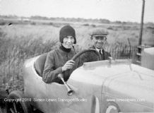 May Cunliffe & father Alfred. Mystery car. Brooklands paddock c.1923